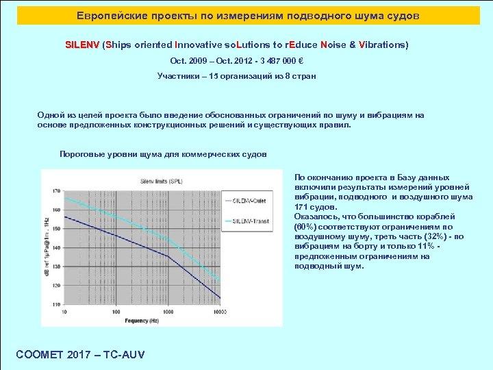 Европейские проекты по измерениям подводного шума судов SILENV (Ships oriented Innovative so. Lutions to