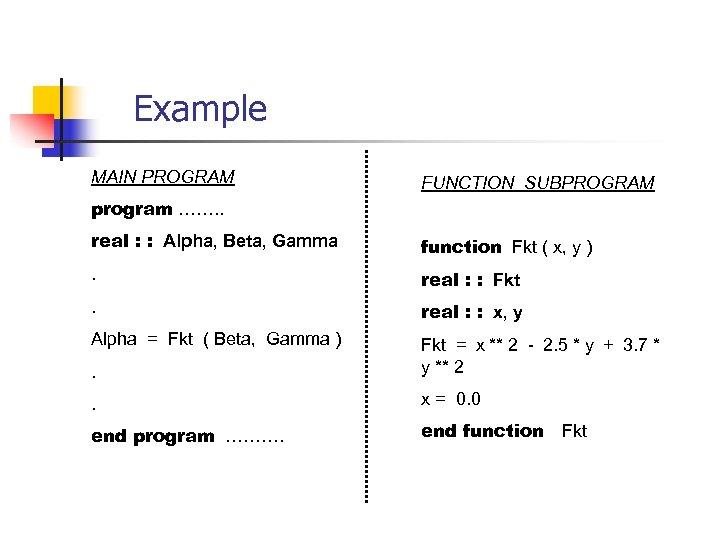 Example MAIN PROGRAM FUNCTION SUBPROGRAM program ……. . real : : Alpha, Beta, Gamma