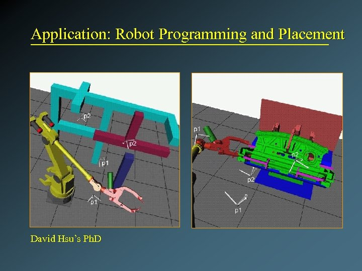 Application: Robot Programming and Placement David Hsu's Ph. D