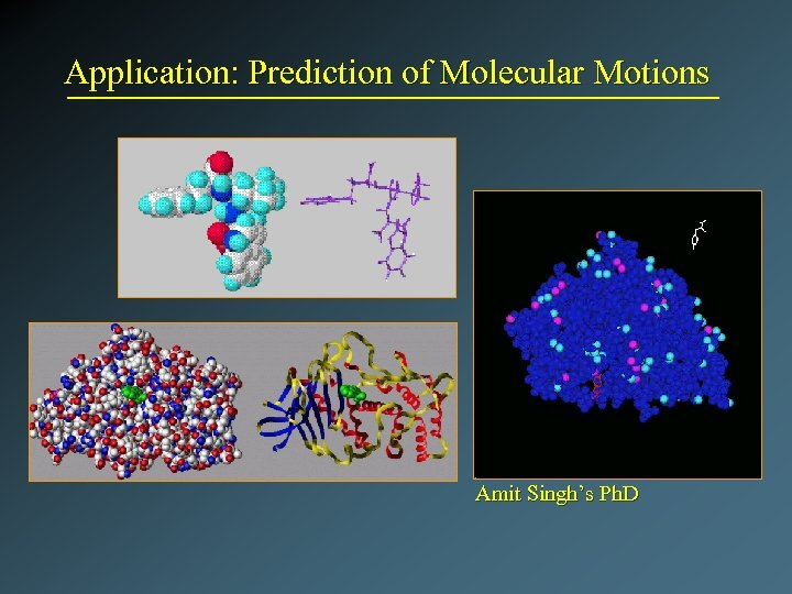 Application: Prediction of Molecular Motions Amit Singh's Ph. D
