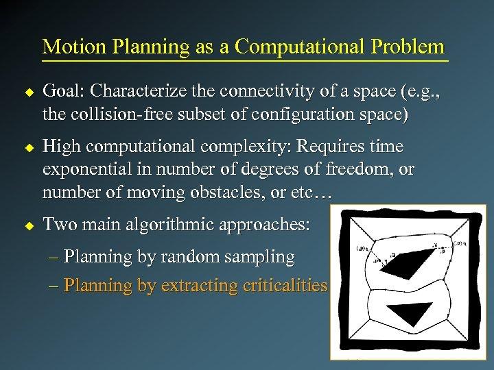 Motion Planning as a Computational Problem u u u Goal: Characterize the connectivity of