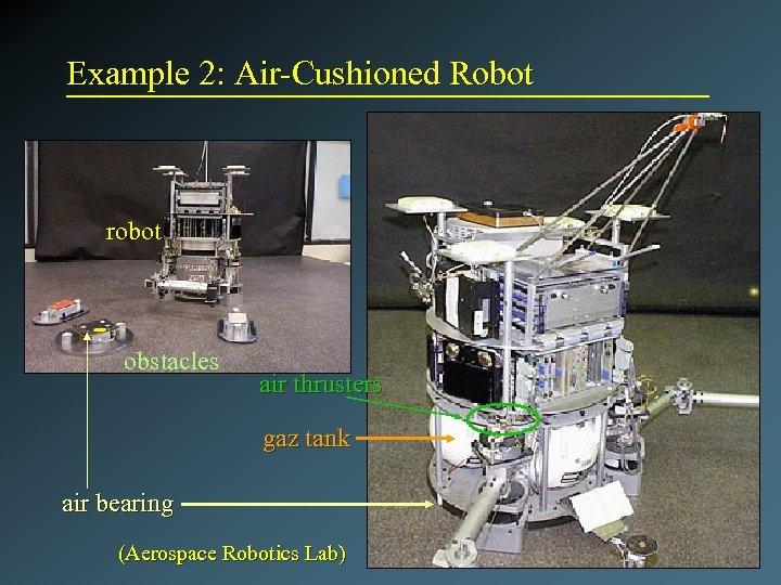 Example 2: Air-Cushioned Robot robot obstacles air thrusters gaz tank air bearing (Aerospace Robotics