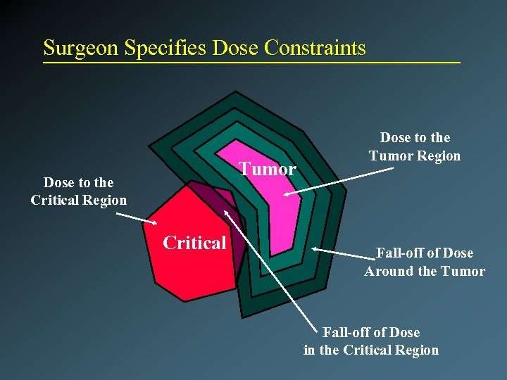 Surgeon Specifies Dose Constraints Tumor Dose to the Critical Region Critical Dose to the