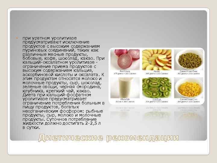 при уратном уролитиазе предусматривают исключение продуктов с высоким содержанием пуриновых соединений, таких как