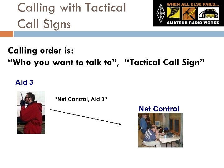 "Calling with Tactical Call Signs Calling order is: ""Who you want to talk to"","