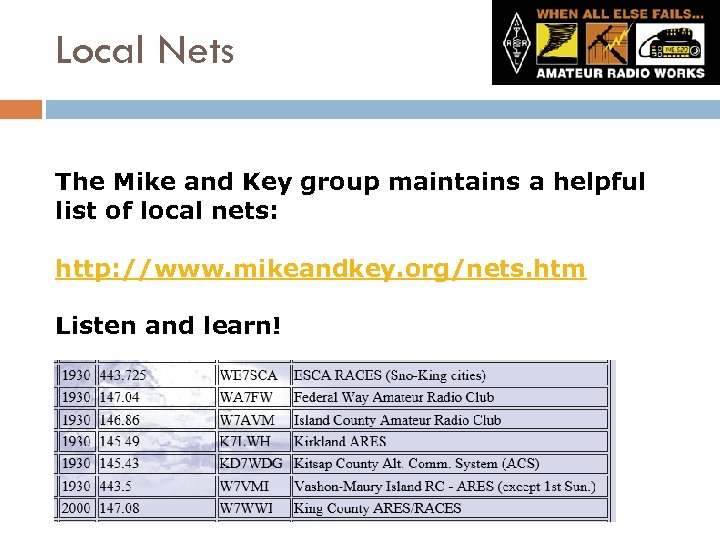 Local Nets The Mike and Key group maintains a helpful list of local nets: