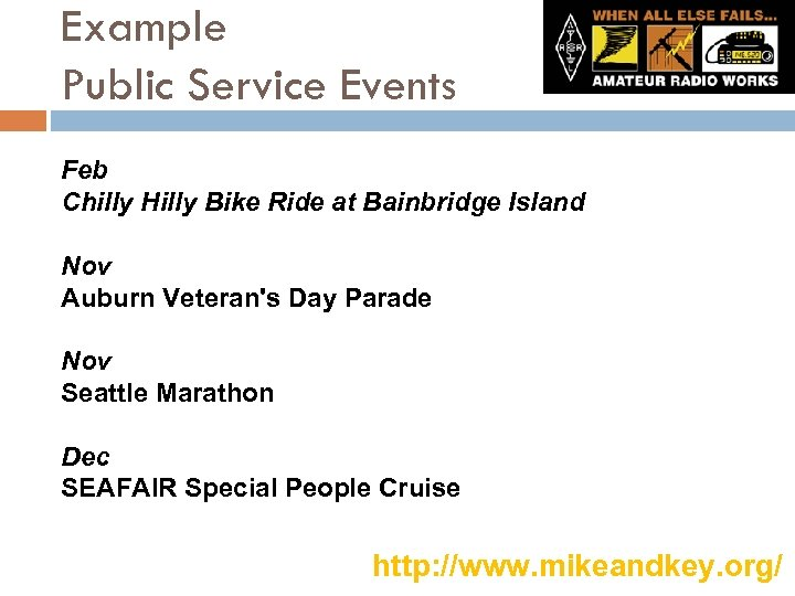 Example Public Service Events Feb Chilly Hilly Bike Ride at Bainbridge Island Nov Auburn