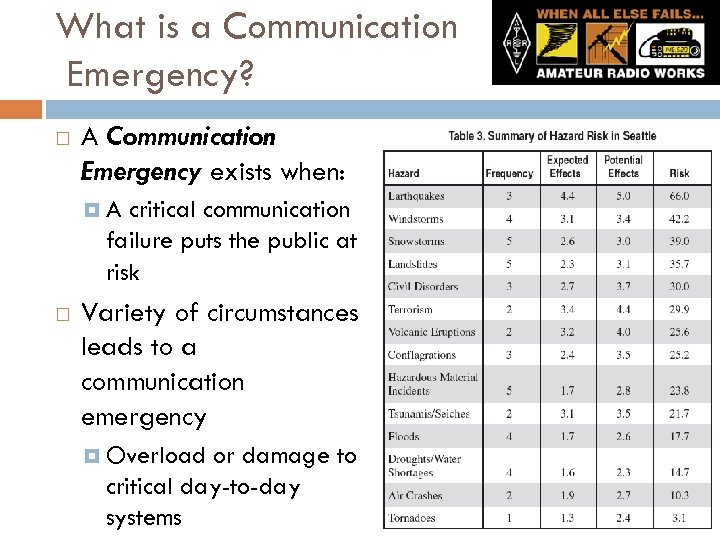What is a Communication Emergency? A Communication Emergency exists when: A critical communication failure