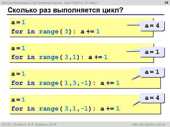 34 Алгоритмизация и программирование, язык Python, 10 класс Сколько раз выполняется цикл? a=1 for