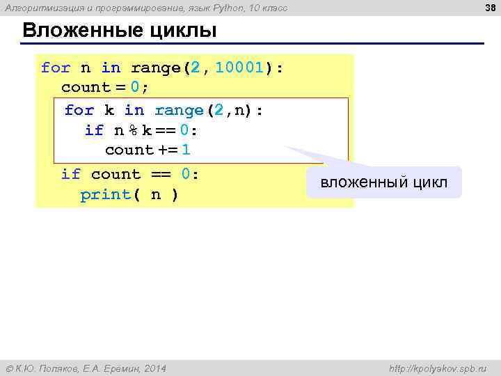 38 Алгоритмизация и программирование, язык Python, 10 класс Вложенные циклы for n in range(2,