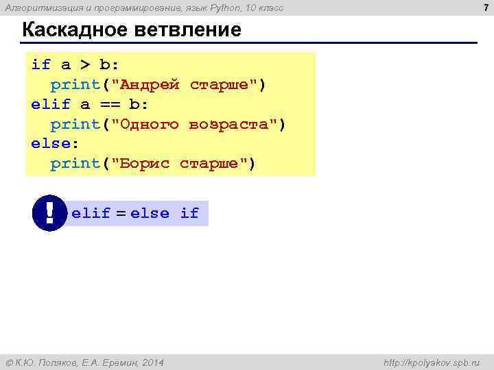7 Алгоритмизация и программирование, язык Python, 10 класс Каскадное ветвление if a > b: