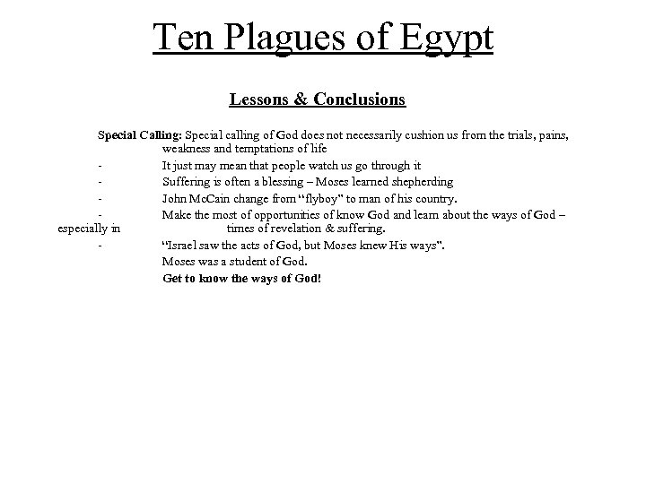 Ten Plagues of Egypt Ten Plagues of