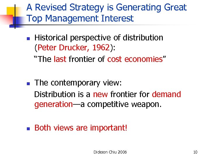 A Revised Strategy is Generating Great Top Management Interest n n n Historical perspective