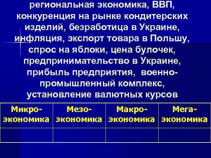 региональная экономика, ВВП, конкуренция на рынке кондитерских изделий, безработица в Украине, инфляция, экспорт товара