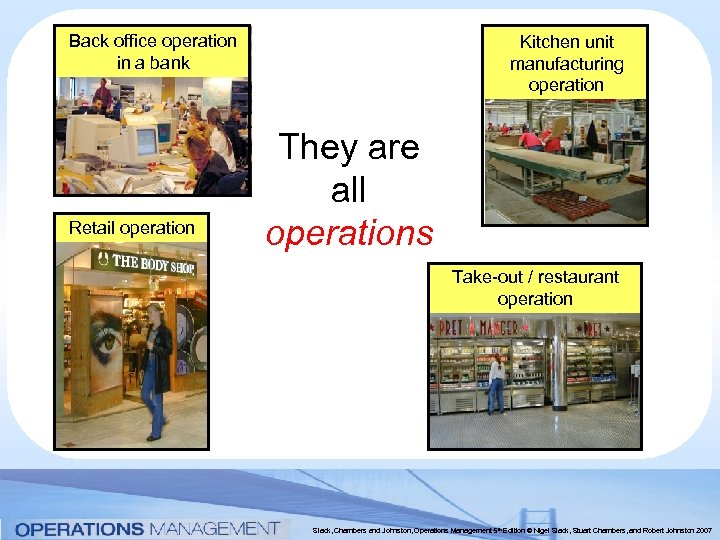 Back office operation in a bank Retail operation Kitchen unit manufacturing operation They are