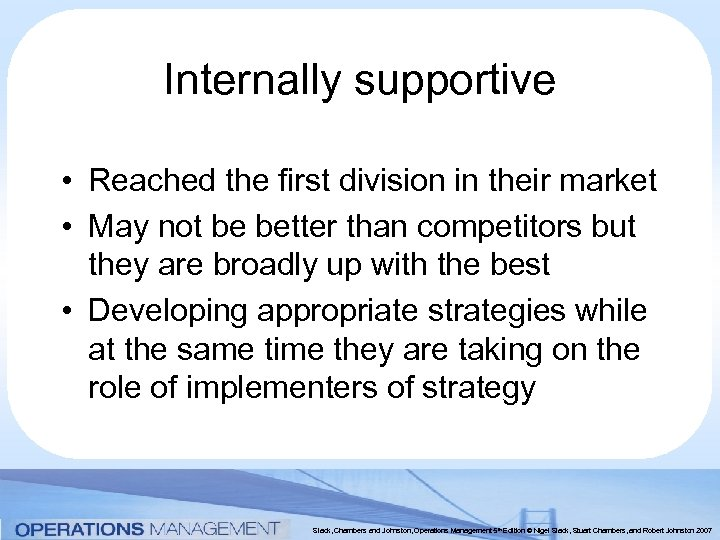 Internally supportive • Reached the first division in their market • May not be