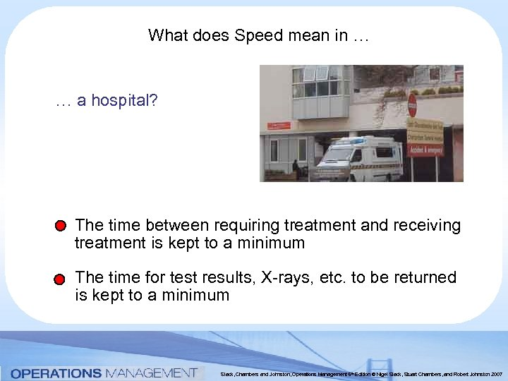 What does Speed mean in … … a hospital? The time between requiring treatment