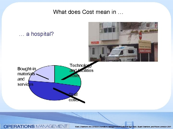 What does Cost mean in … … a hospital? Bought-in materials and services Technology