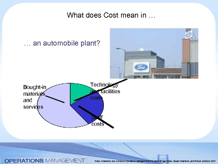 What does Cost mean in … … an automobile plant? Bought-in materials and services