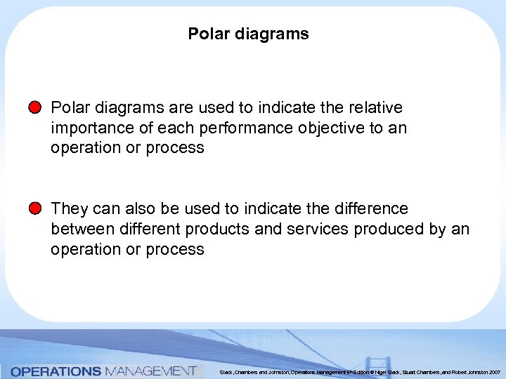 Polar diagrams are used to indicate the relative importance of each performance objective to