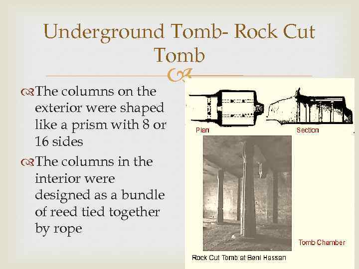 Underground Tomb- Rock Cut Tomb The columns on the exterior were shaped like a
