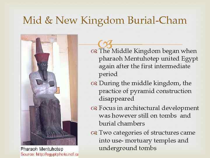 Mid & New Kingdom Burial-Cham Middle Kingdom began when The pharaoh Mentuhotep united Egypt