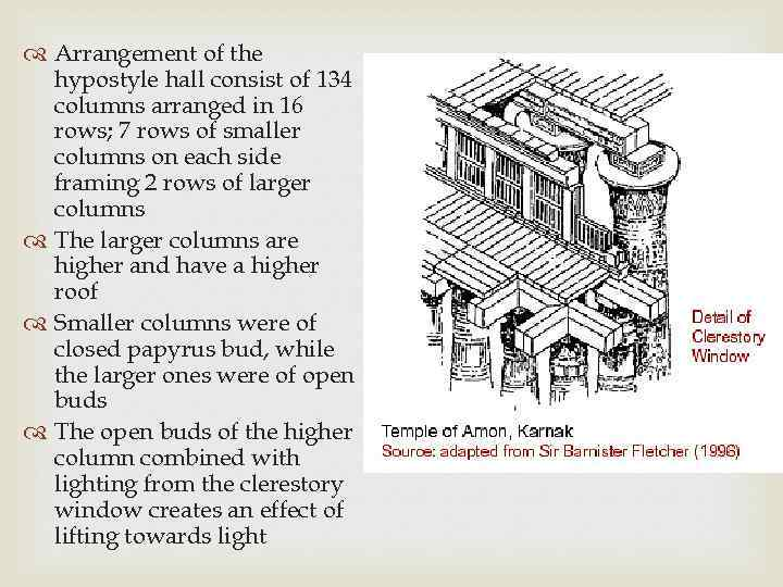 Arrangement of the hypostyle hall consist of 134 columns arranged in 16 rows;