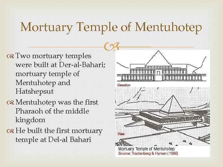 Mortuary Temple of Mentuhotep Two mortuary temples were built at Der-al-Bahari; mortuary temple of