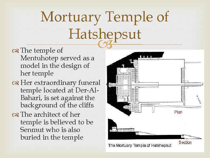 Mortuary Temple of Hatshepsut The temple of Mentuhotep served as a model in the
