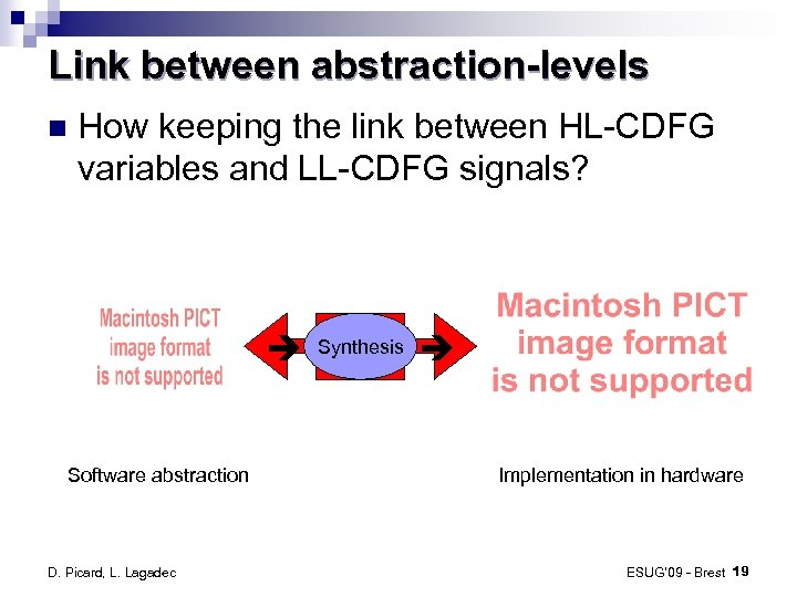 Link between abstraction-levels How keeping the link between HL-CDFG variables and LL-CDFG signals? Software