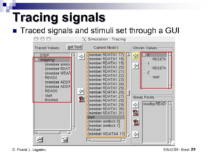Tracing signals Traced signals and stimuli set through a GUI D. Picard, L. Lagadec