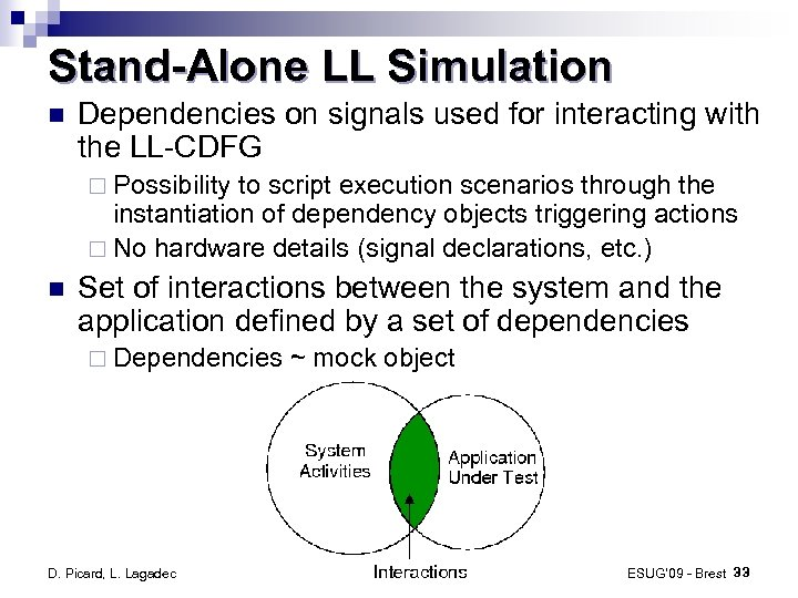 Stand-Alone LL Simulation Dependencies on signals used for interacting with the LL-CDFG ¨ Possibility