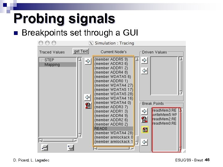 Probing signals Breakpoints set through a GUI D. Picard, L. Lagadec ESUG' 09 -