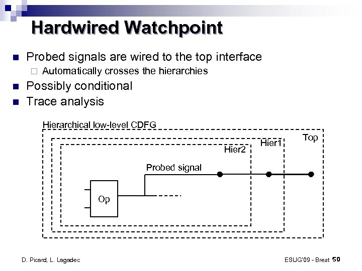 Hardwired Watchpoint Probed signals are wired to the top interface ¨ Automatically crosses the