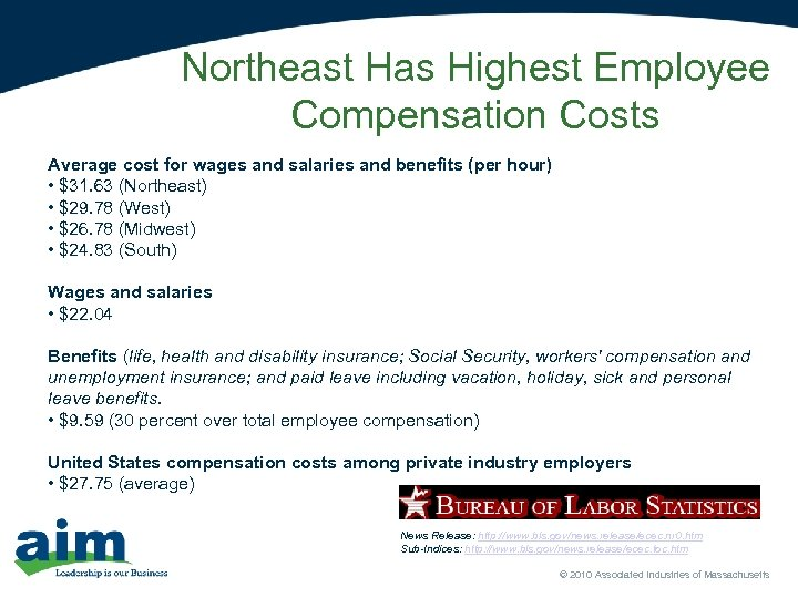 Northeast Has Highest Employee Compensation Costs Average cost for wages and salaries and benefits