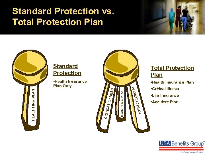 Standard Protection vs. Total Protection Plan ILLNE CRIT ICAL AN HEALTH INS. PLAN •