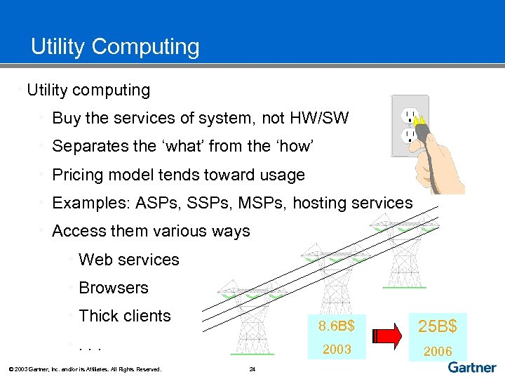 Utility Computing • Utility computing • Buy the services of system, not HW/SW •