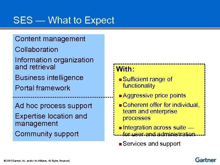 SES — What to Expect Content management Collaboration Information organization and retrieval Business intelligence
