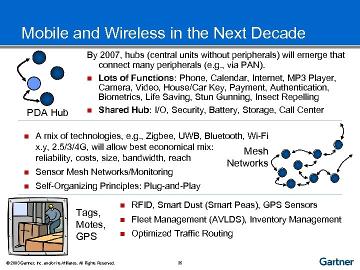 Mobile and Wireless in the Next Decade PDA Hub n By 2007, hubs (central