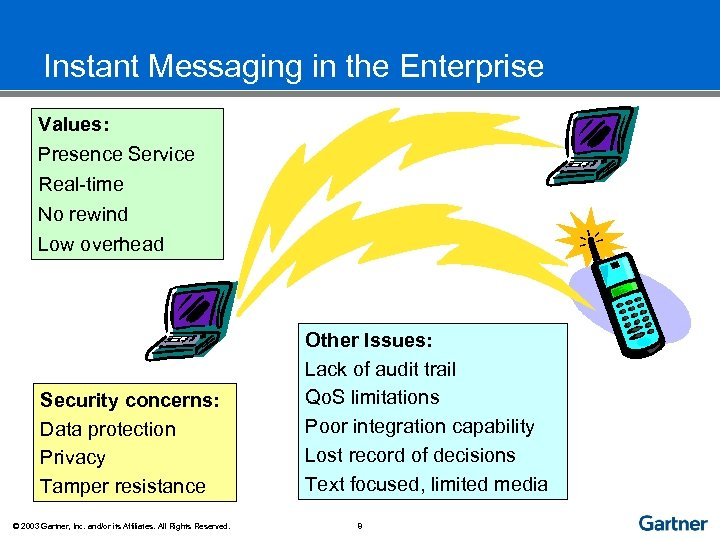 Instant Messaging in the Enterprise Values: Presence Service Real-time No rewind Low overhead Security