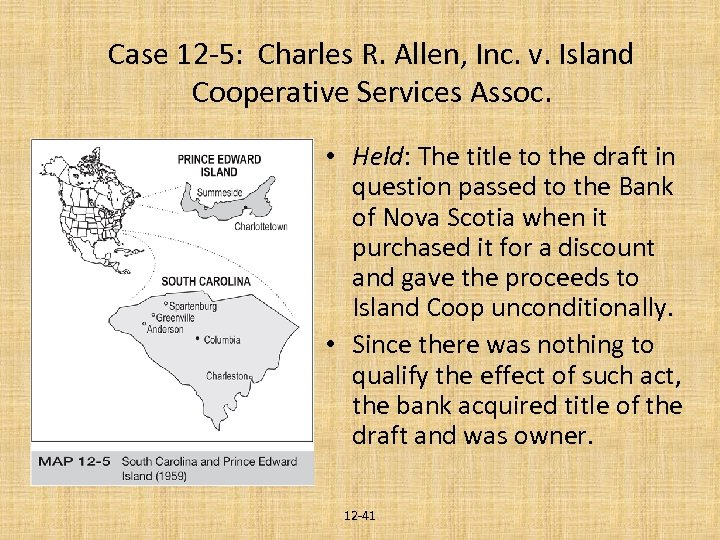 Case 12 -5: Charles R. Allen, Inc. v. Island Cooperative Services Assoc. • Held: