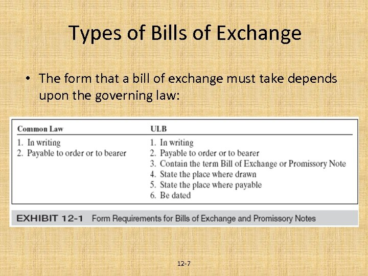 Types of Bills of Exchange • The form that a bill of exchange must