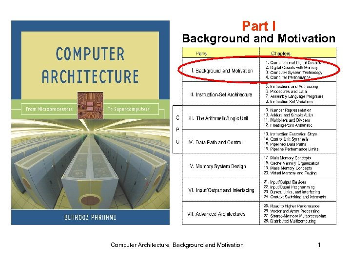 Part I Background and Motivation Computer Architecture, Background and Motivation 1
