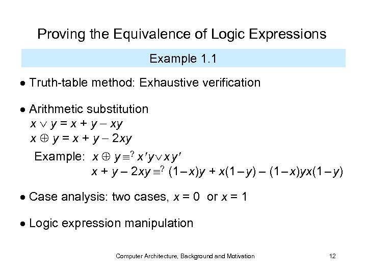 Proving the Equivalence of Logic Expressions Example 1. 1 Truth-table method: Exhaustive verification Arithmetic