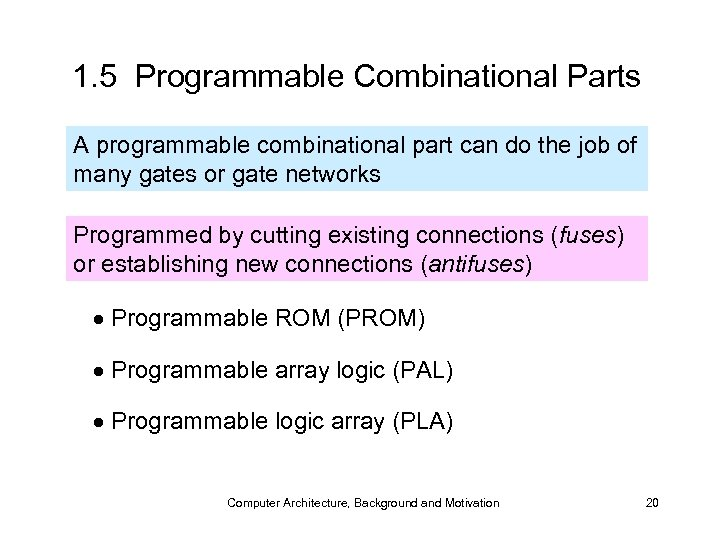 1. 5 Programmable Combinational Parts A programmable combinational part can do the job of