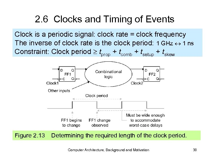 2. 6 Clocks and Timing of Events Clock is a periodic signal: clock rate