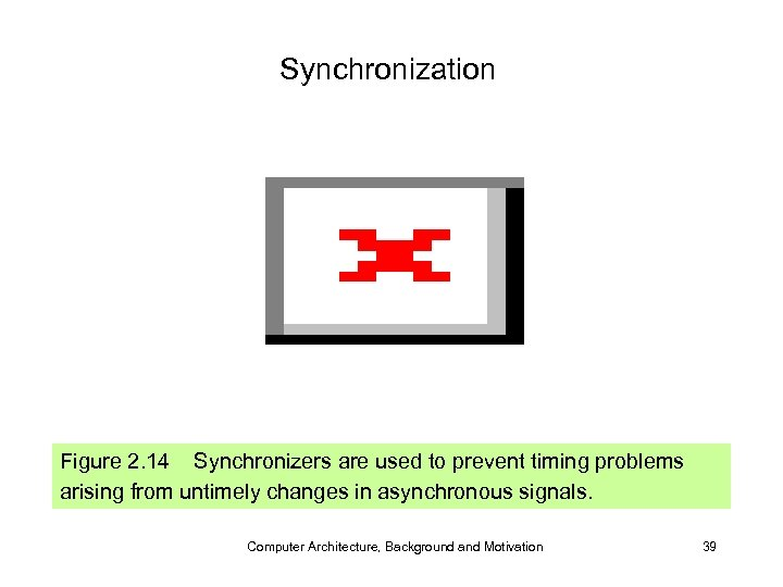 Synchronization Figure 2. 14 Synchronizers are used to prevent timing problems arising from untimely