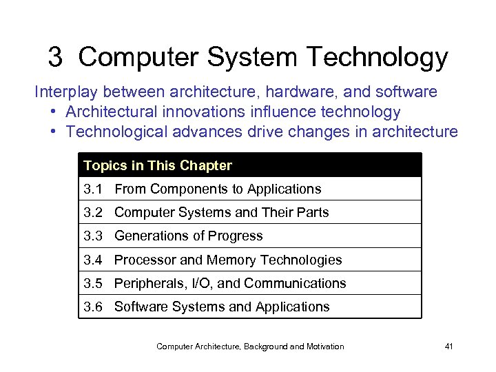 3 Computer System Technology Interplay between architecture, hardware, and software • Architectural innovations influence
