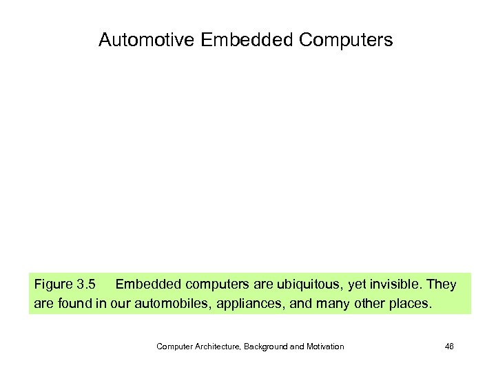 Automotive Embedded Computers Figure 3. 5 Embedded computers are ubiquitous, yet invisible. They are