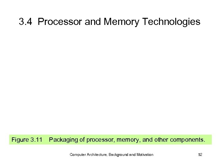 3. 4 Processor and Memory Technologies Figure 3. 11 Packaging of processor, memory, and